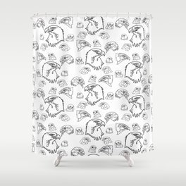Birds of Prey - black on white Shower Curtain