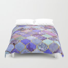 Royal Purple, Mauve & Indigo Decorative Moroccan Tile Pattern Duvet Cover