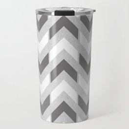 Grey & White Herringbone Chevron Travel Mug