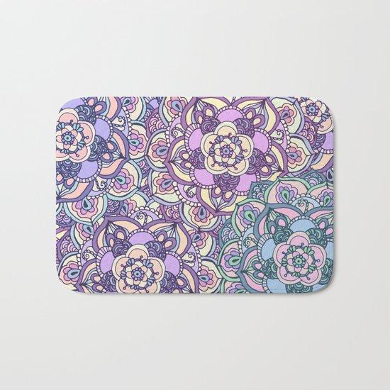 Aqua, Pink and Purple Doodled Pattern Bath Mat