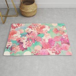Romantic Pink Retro Floral Pattern Teal Polka Dots Rug