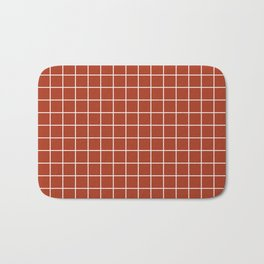 Chinese red - brown color - White Lines Grid Pattern Bath Mat