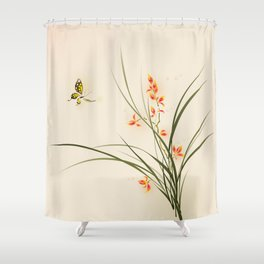 Oriental style painting - orchid flowers and butterfly 003 Shower Curtain