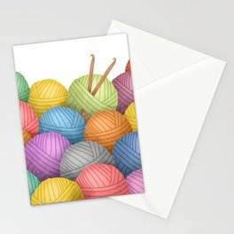 Two Crochet Hooks And A Lot Of Yarn Stationery Cards