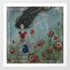 When the cage was left open, a fluttering of her soul escaped Art Print