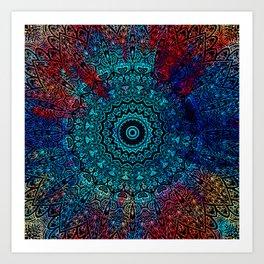 Mandala Passion Bohemian Spiritual Zen Blue Red Hippie Yoga Mantra Meditation Kunstdrucke