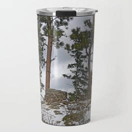 PINES ON ROCKY SNOW Travel Mug