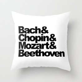 Bach and Chopin and Mozart and Beethoven, sticker, circle, white Throw Pillow
