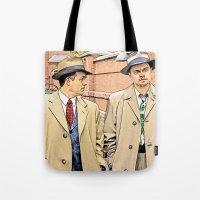 leonardo dicaprio Tote Bags featuring Leonardo DiCaprio in Shutter Island - Colored Sketch Style by ElvisTR