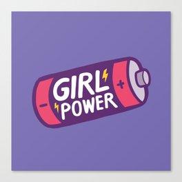 Girl Power Pattern in Purple Canvas Print