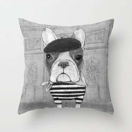 French Bulldog. (black and white version) Throw Pillow