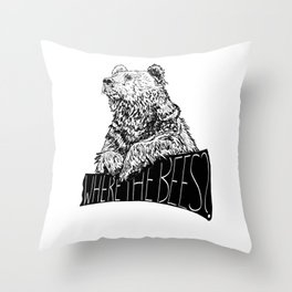 Where the Bees? Throw Pillow