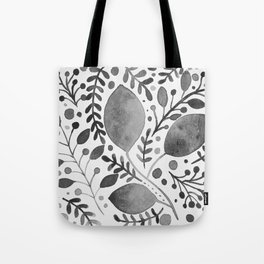 Branches and leaves - black and white Tote Bag