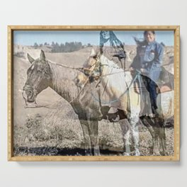She never rides alone Serving Tray