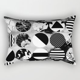 Eclectic Circles - Black and white, abstract, geometric, textured designs Rectangular Pillow