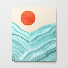 Oahu Summer / Abstract Landscape in Aqua and Orange Metal Print