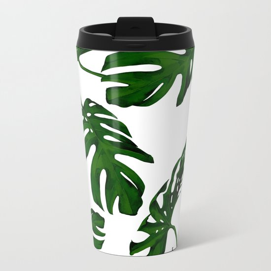 Simply Tropical Palm Leaves in Jungle Green Metal Travel Mug