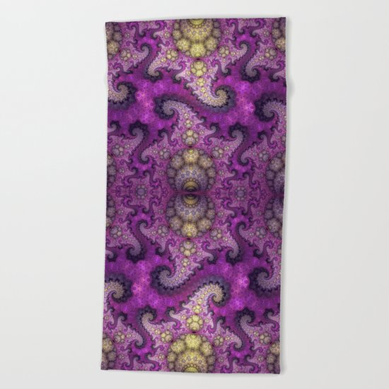 Dragon spirals and orbs in pink, purple and yellow Beach Towel