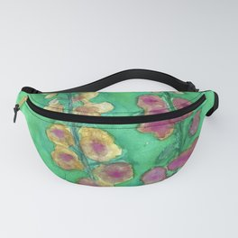 Hollyhock Foxglove Watercolor Honey & Berry on Green Fanny Pack