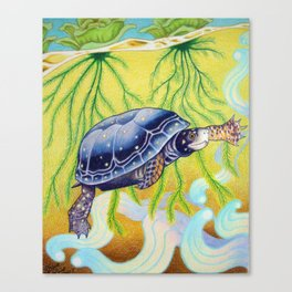 Swimming Spotted Turtle, Turtle Art Canvas Print