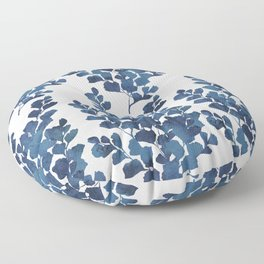 Blue watercolor maidenhair fern Floor Pillow