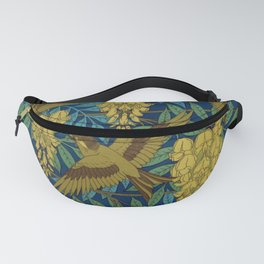 Birds and Wisteria Vintage Textile Pattern, 1897 Fanny Pack