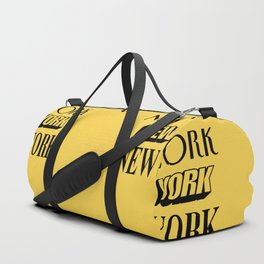 New York City Yellow Taxi and Black Typography Poster NYC Duffle Bag