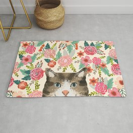 Cat floral pet portrait tabby cats Rug