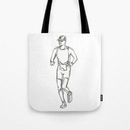 Marathon Running Doodle Art Tote Bag