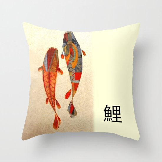 Kolors koi throw pillow by fernando vieira society6 for Koi fish pillow