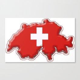 Switzerland Map with Swiss Flag Canvas Print