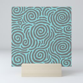 Ripple Effect Pattern Gray and Turquoise Mini Art Print