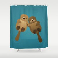 otters Shower Curtains featuring I Wanna Hold Your Hand by Sara Showalter