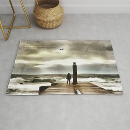 The girl in the storm, Cascais (Portugal) Rug