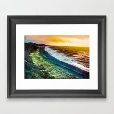 Beach - Vintage - Ocean watching the waves on the Oregon Gold Coast Travel Wall Tapestries Framed Art Print