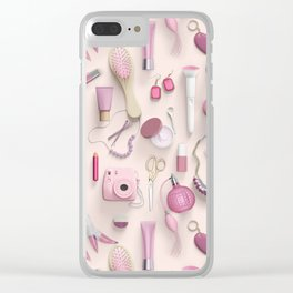 Pink Vanity Table Clear iPhone Case