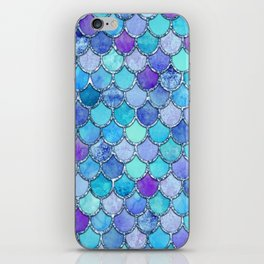 Colorful Blues Mermaid Scales iPhone Skin