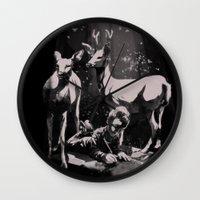 dad Wall Clocks featuring Deer Dad by SPYKEEE