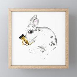 Some'bunny' Loves You (Single Bunny/White) Framed Mini Art Print