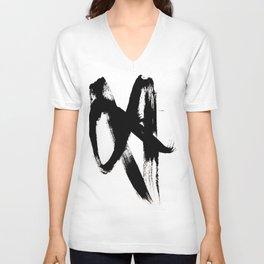 Brushstroke 2 - simple black and white Unisex V-Neck