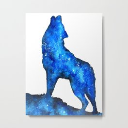 Howling Wolf | Space Wolf | Double Exposure Wolf | Wolf Painting | Blue Wolf Metal Print