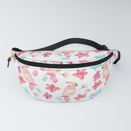 Pink teal watercolor cockatoo bird elegant orchid floral Fanny Pack