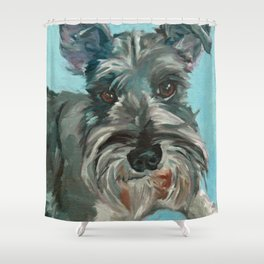 Schnauzer Dog Portrait Shower Curtain