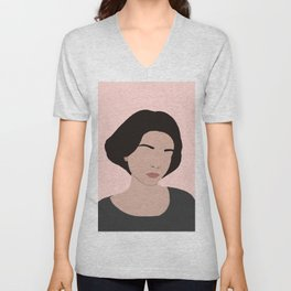 claire - portrait in pink Unisex V-Neck