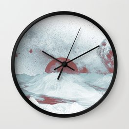 Pink Moon Mountain Wall Clock