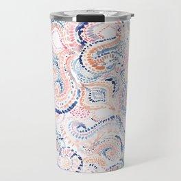 Indigo Ikat Painted Abstract Travel Mug