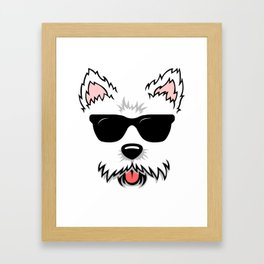Cute White Terrier Westie Dog Face with Sunglasses for Westie Lovers Framed Art Print