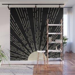 Minimalist sun moon phases art print, mid century modern art, black and white printable wall art set Wall Mural