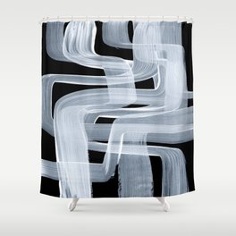 Ghostly Minimalist Abstract Painting Black And White Maze Brush Strokes Shower Curtain