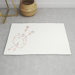 Cupid Heart in Pink Rose Gold Rug